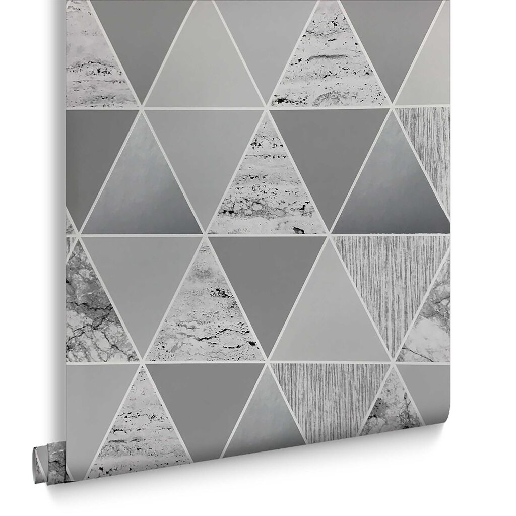 Buy marble rose gold silver and floral geo triangles rectangular - Silver Reflections Wallpaper Large