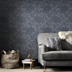 Jacquard Charcoal Wallpaper, , large