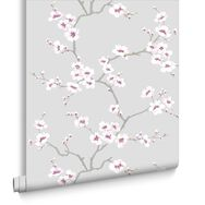 Apple Blossom Tree Grey Wallpaper, , large