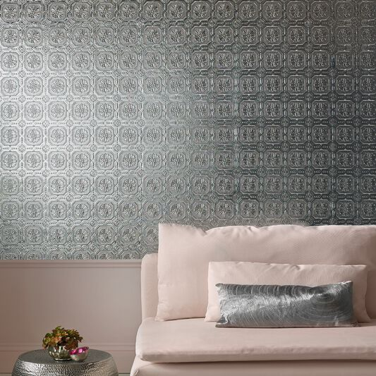 Silver Metallic Ceiling Wallpaper, , large
