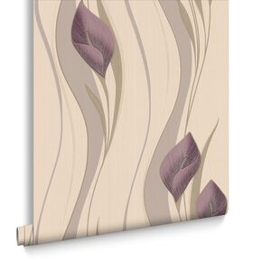 Peace Plum and Cream Wallpaper, , large