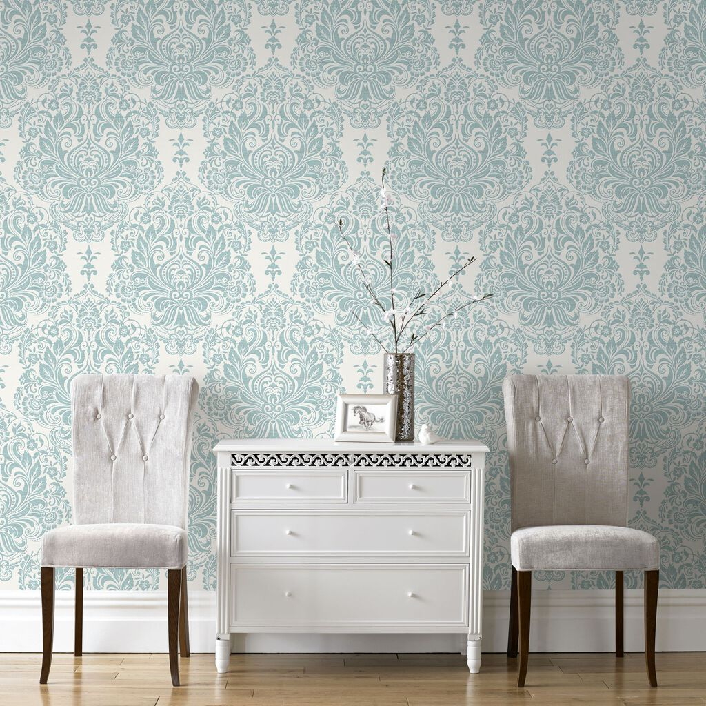 Melody duck egg graham brown for Brown and cream living room wallpaper