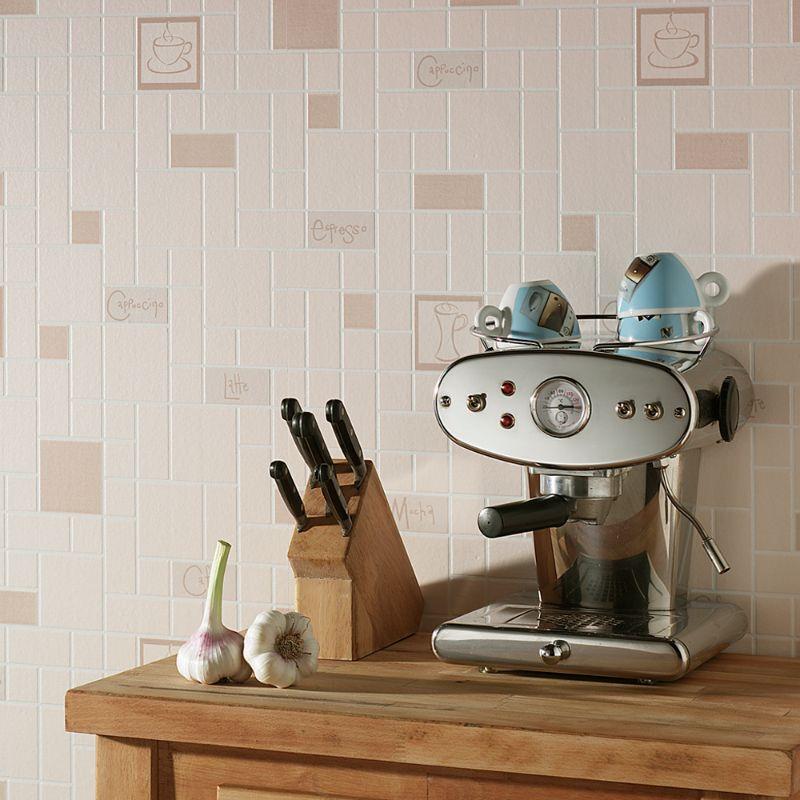 ... Large Cafe Culture Beige Wallpaper, ...