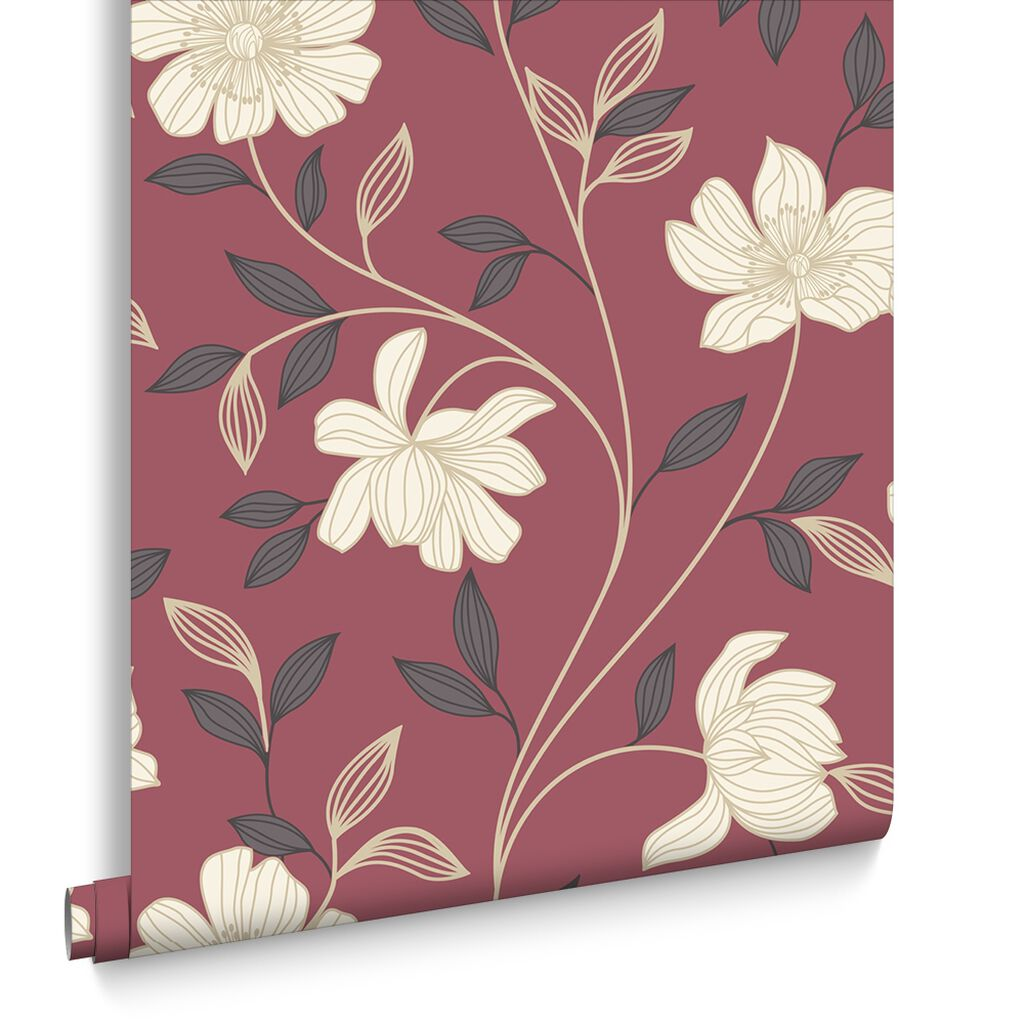 Camille red and cream wallpaper grahambrownus - Red brown and cream wallpaper ...