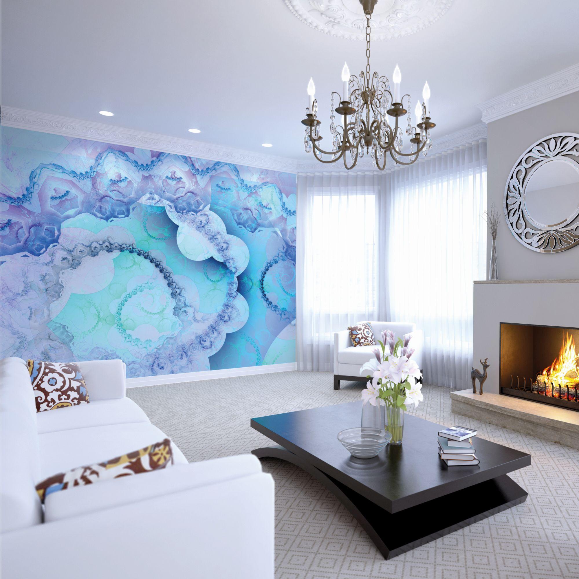 indigo wall mural large