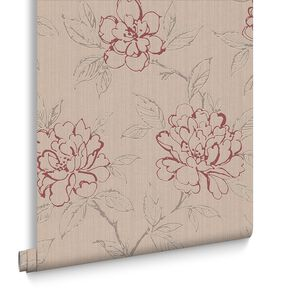 Bloom Beige and Red Wallpaper, , large