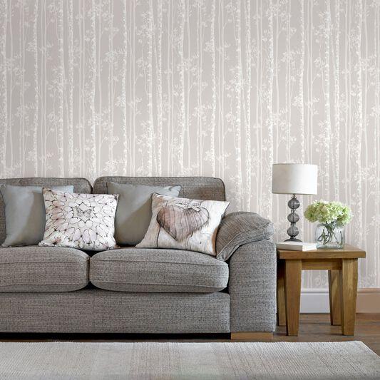 Linden beige and white wallpaper graham brown for Beige living room wallpaper