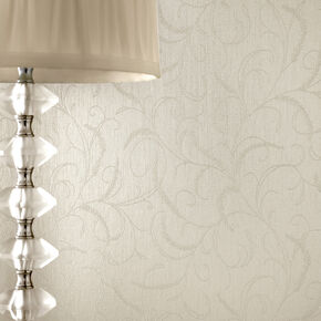 Leaf Scroll White Shimmer Wallpaper, , large