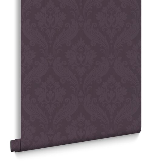Vintage Flock Purple Wallpaper, , large
