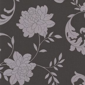 Silk Black and Silver Wallpaper, , large