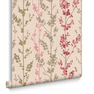 Berries Red Pink and Gold Wallpaper, , large