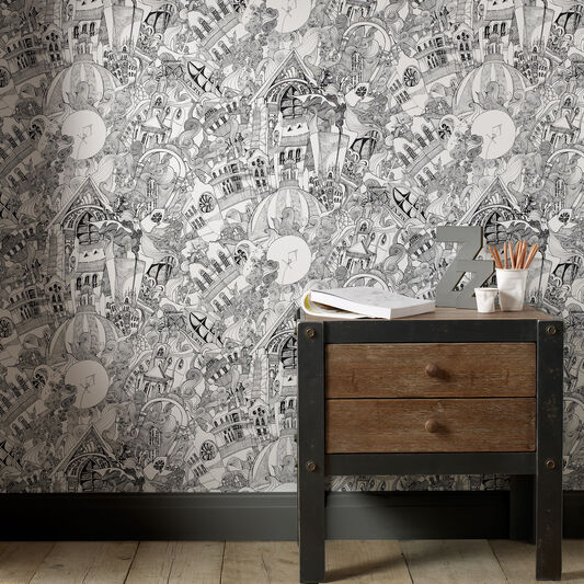 Lizzies Doodle Black and White Wallpaper, , large