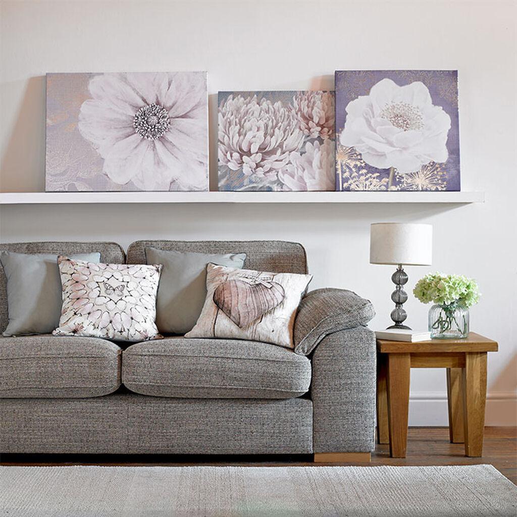 Grey Bloom Printed Canvas GrahamBrownUS - Grey and lilac living room