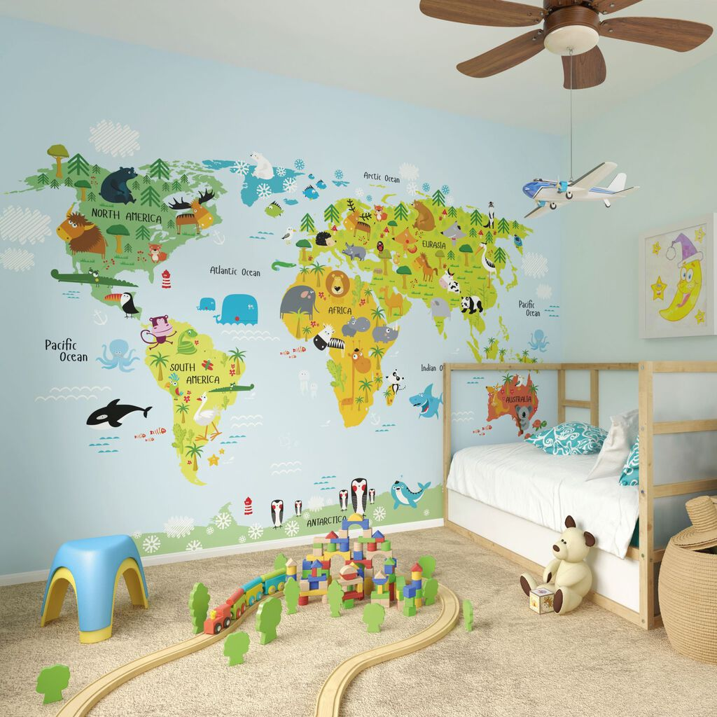Panoramique the whole wide world grahambrownfr for Cartoon wall mural