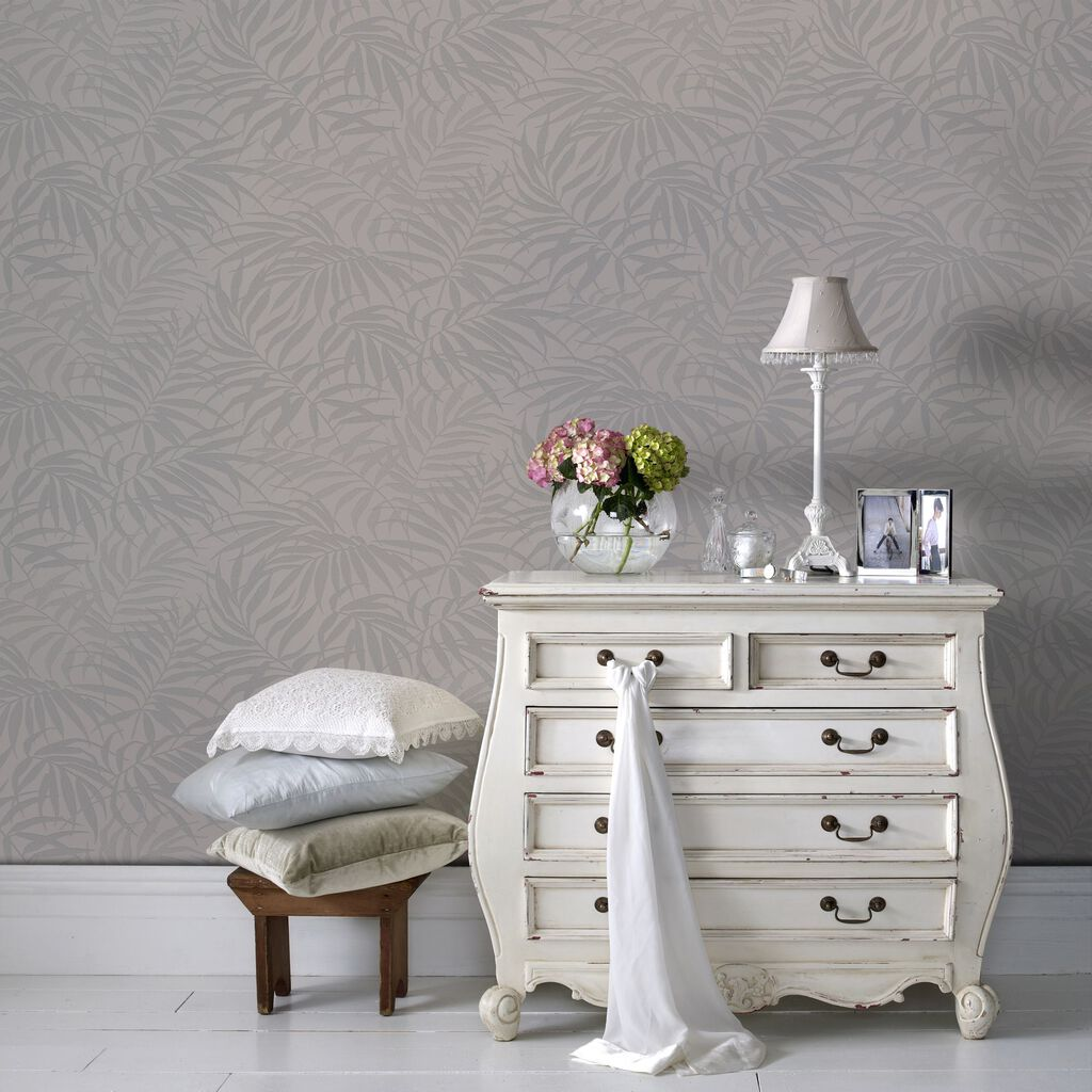Tropic Beige and Silver Wallpaper | Graham & Brown