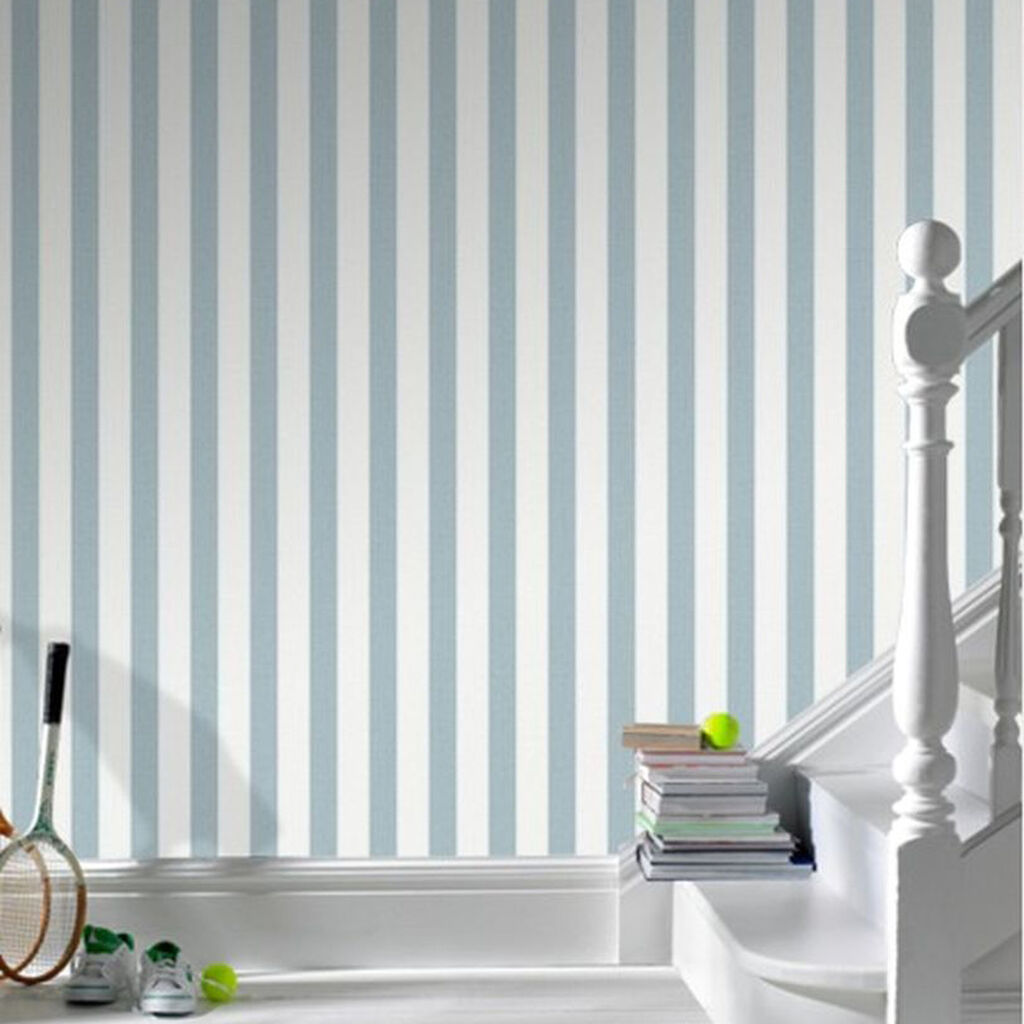 Blue And Brown Striped Bedroom ticking stripe skye blue wallpaper | graham & brown
