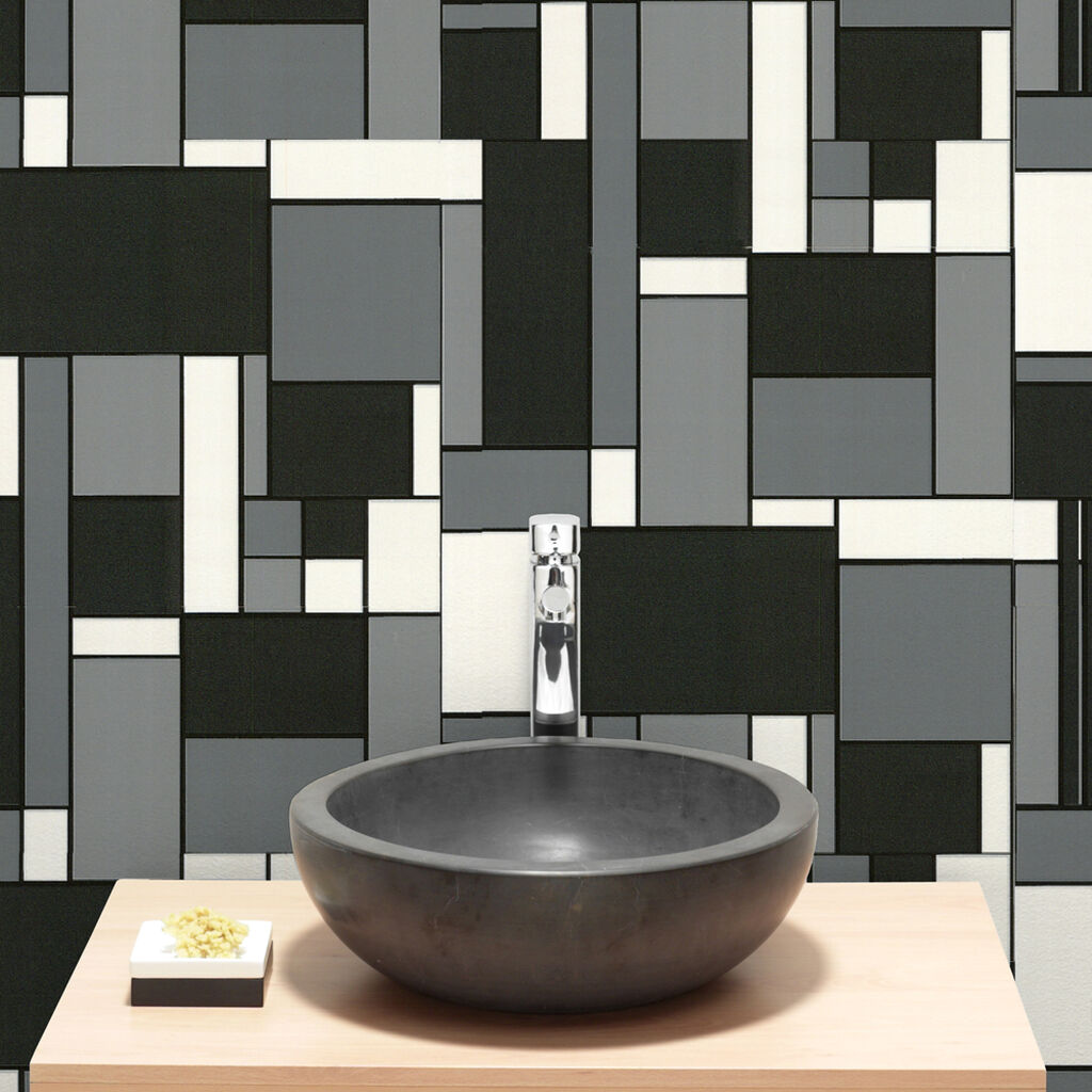 Geo black and white wallpaper grahambrownus for Dark bathroom wallpaper