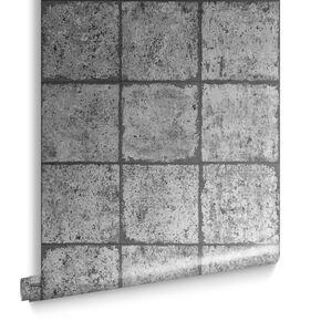 Oxidised Tile Blackened Wallpaper, , large