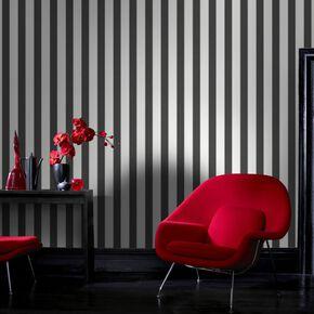 Ticking Stripe Charcoal et White, , large
