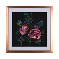 Folk Floral Stitched Framed Print, , large