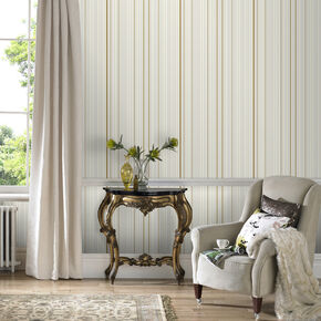 Maestro Stripe White and Gold Wallpaper, , large