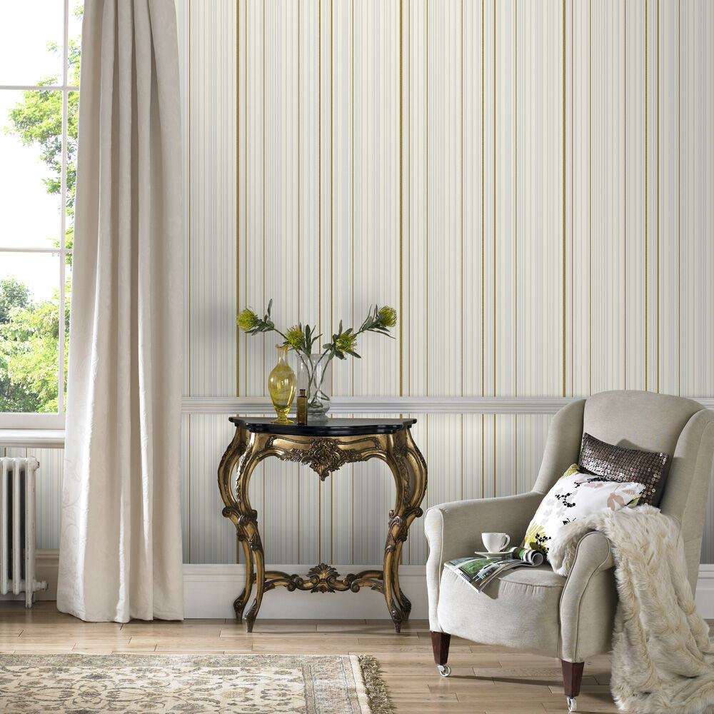 ... Large Maestro Stripe White And Gold Wallpaper, ...