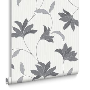 Alannah Grey and Silver Wallpaper, , large