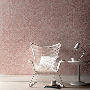 Burlesque Pink and White Wallpaper, , large