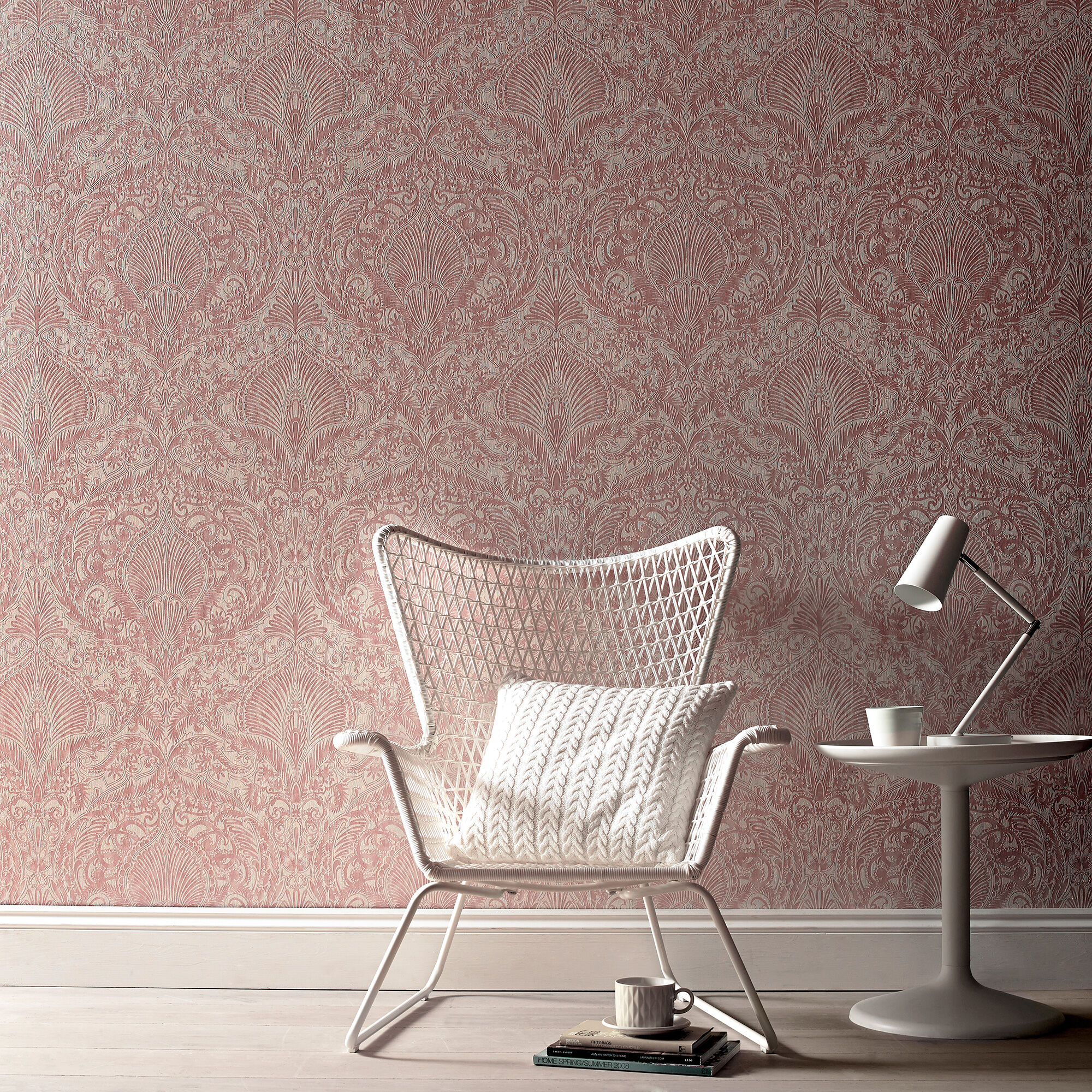 Burlesque Pink And White Wallpaper, ...