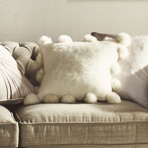 White Pom Pom Cushion Cover, , large
