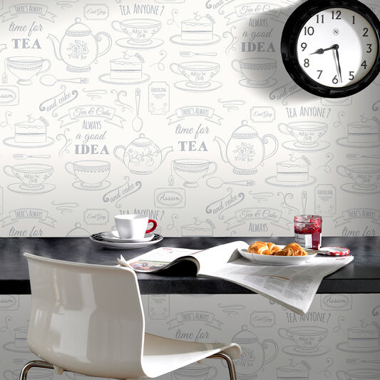 Afternoon Tea White and Silver Wallpaper, , large