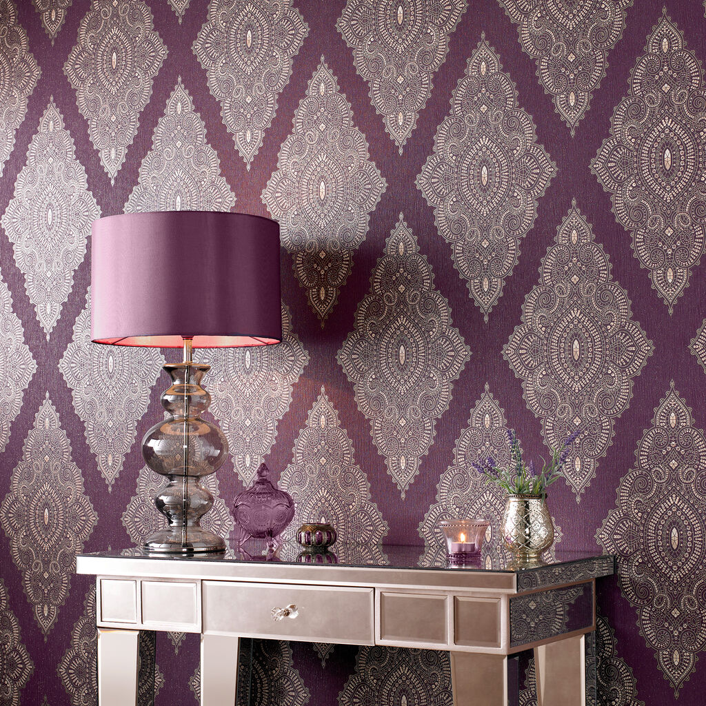 Jewel damson and gold wallpaper graham brown for Affordable designer wallpaper