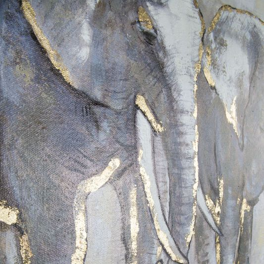 Metallic Elephant Family Handpainted Framed Canvas, , large