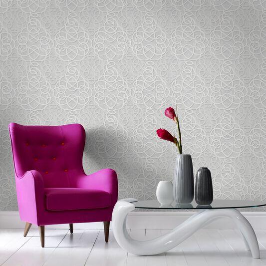 Ribbon Dance Silver Wallpaper, , large