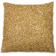 Glimmerous Gold Beaded Cushion, , large