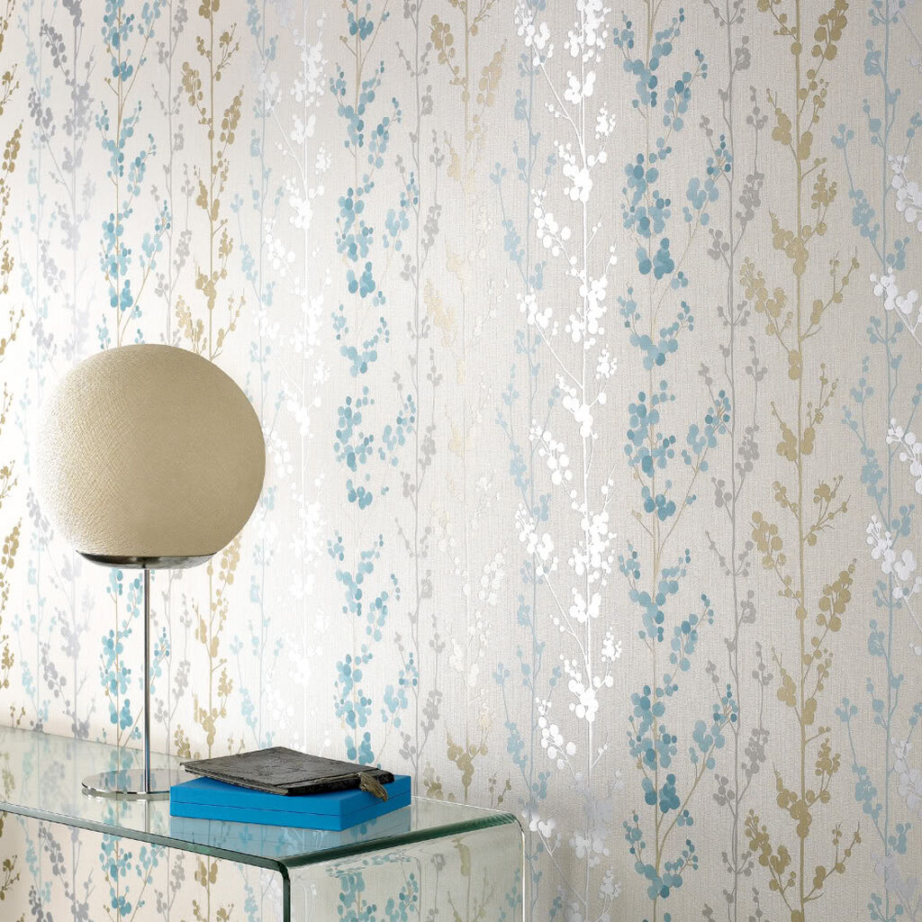 Berries Teal Gold And Silver Wallpaper Graham Brown