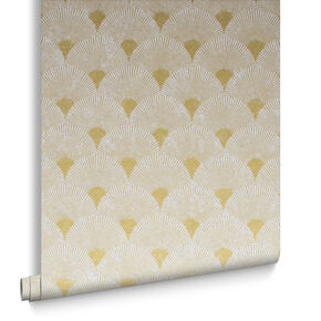 Fan Gold et Pearl Papier Peint, , large