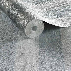 Water Silk Stripe Teal & Silver Wallpaper, , large