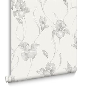 Iris White and Grey Wallpaper, , large