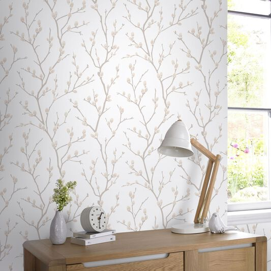 Karma natural wallpaper grahambrownuk for Brown and cream living room wallpaper