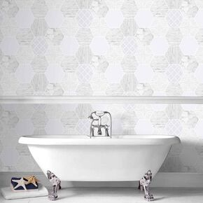 Hexagonal Marble Wallpaper, , large