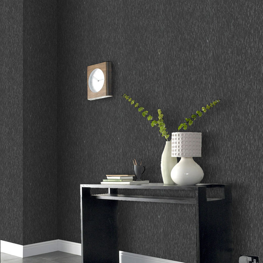 Heston black wallpaper graham brown for Dark grey bedroom wallpaper
