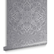 Souk Tile Pewter Wallpaper, , large