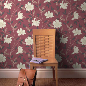 Camille Red and Cream Wallpaper, , large