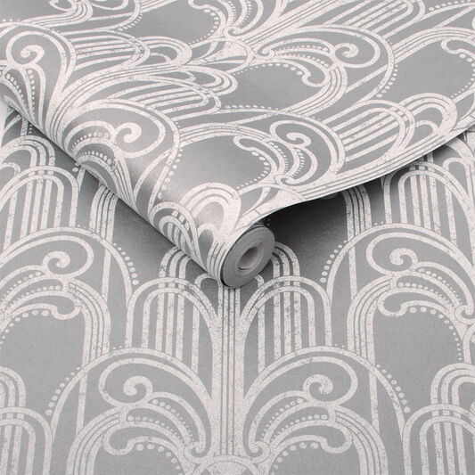 Art Deco Silver Wallpaper Grahambrownuk