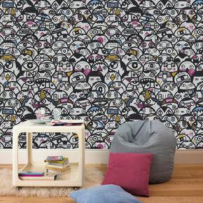 Alien Crowd Multi-coloured Wallpaper, , large
