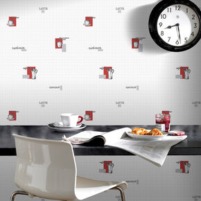Espresso Grey and Red Wallpaper, , large