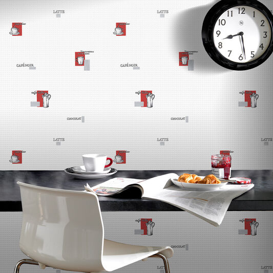 espresso grey and red wallpaper | graham & brown