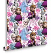 Frozen Anna, Elsa and Olaf Pink Shimmer Wallpaper, , large