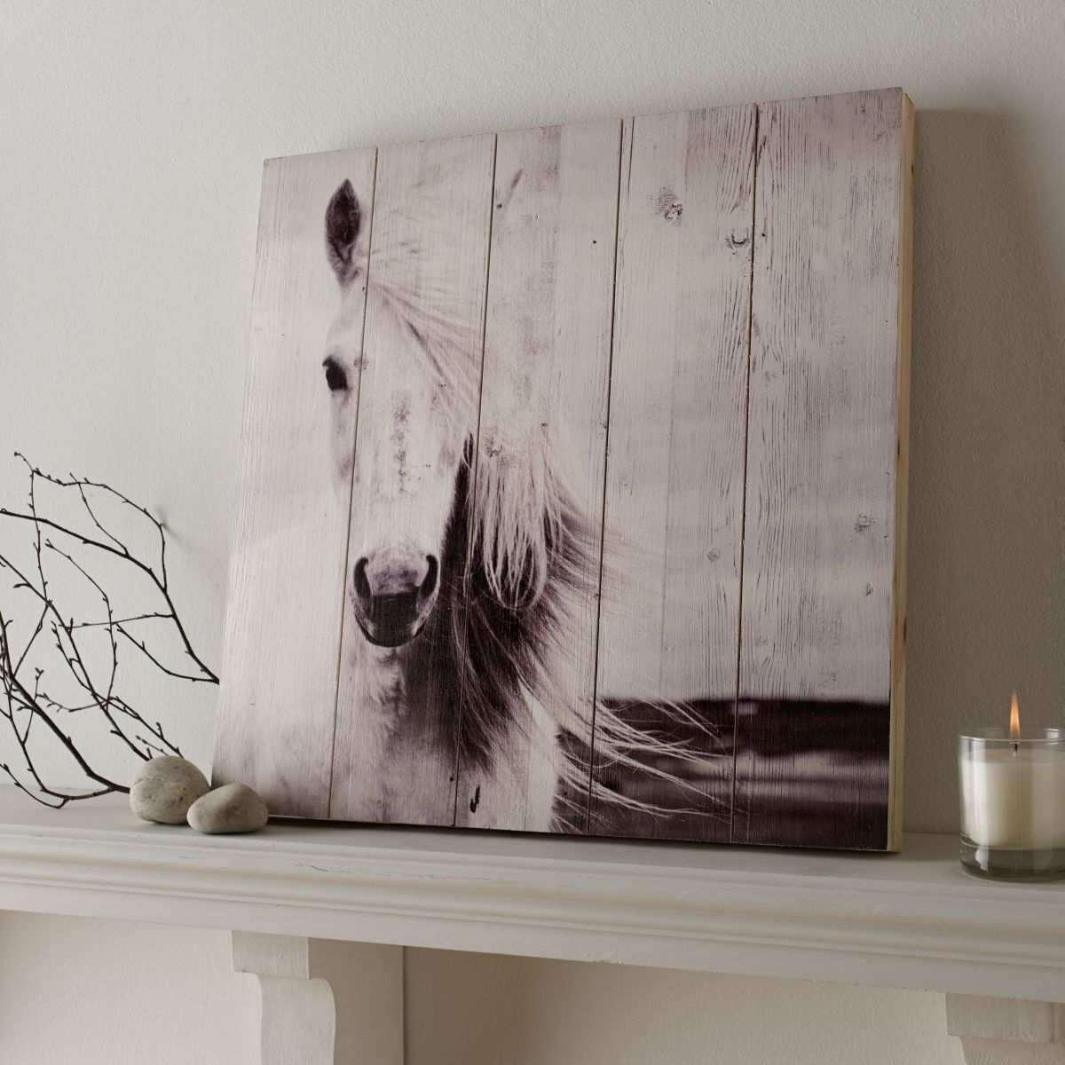 Horse Print On Wood Wall Art, ...